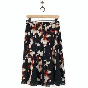 WHBM Floral Print Full Pleated Midi Skirt Size 4